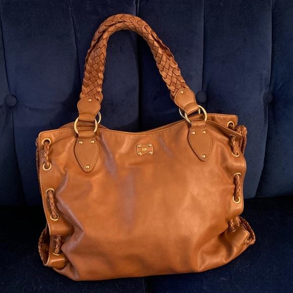 Michael Kors Handbags - $398 Michael Kors WOODSIDE Satchel Purse Saddle